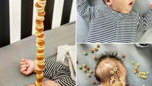 Väter bauen Türme aus Cheerios auf ihren Babys
