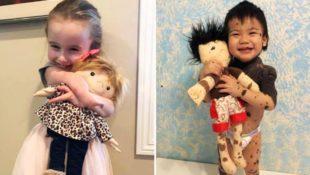 Frau bildet für Kinder mit Behinderung Puppen nach, die aussehen wie sie